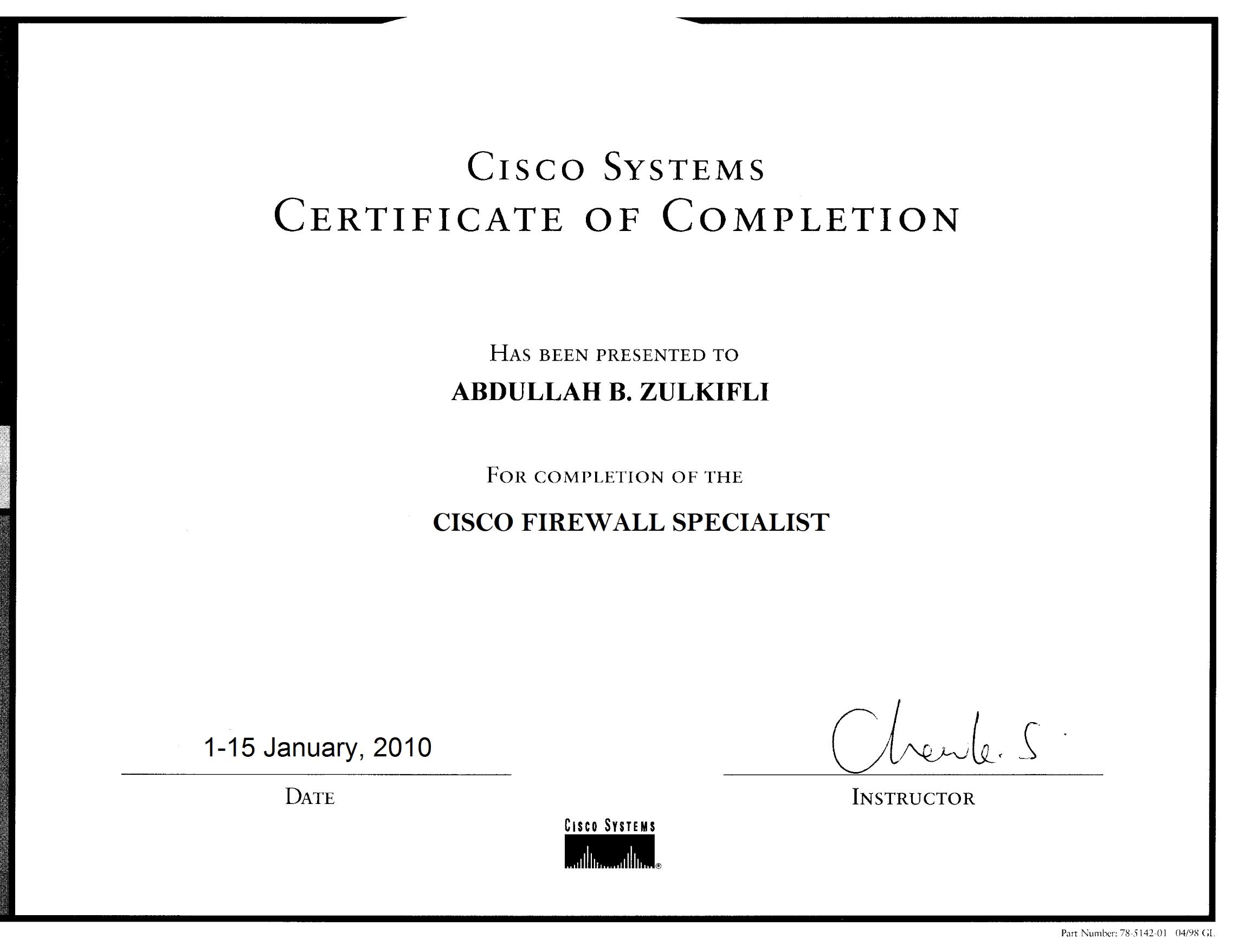 CISCO Firewall Specialist