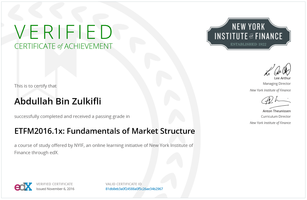 New York Institute of Finance: Fundamental of Market Structure