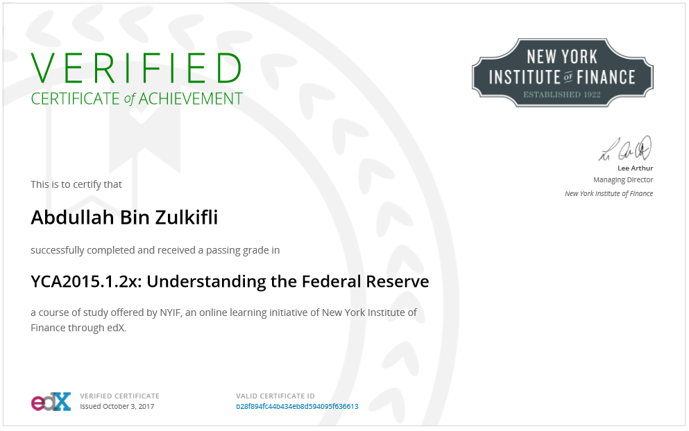 New York Institute of Finance: Understanding of Federal Reserve