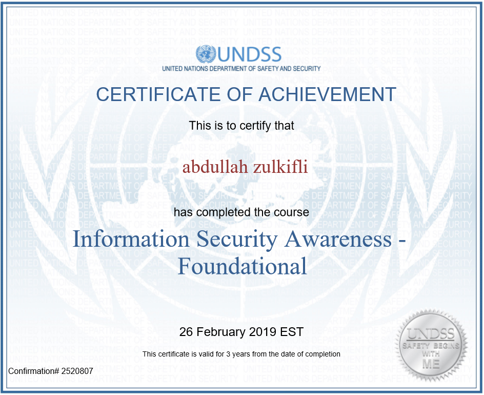 Information Security Awareness: United Nations – Foundational