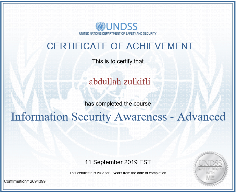 Information Security Awareness: United Nations – Advanced