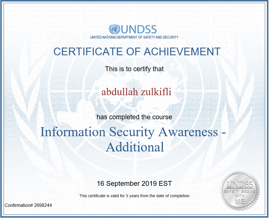 Information Security Awareness: United Nations – Addtional