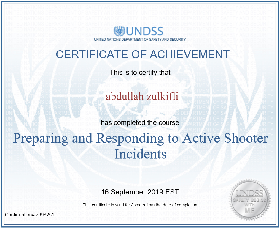 Preparing and Responding to Active Shooter Incidents: United Nations